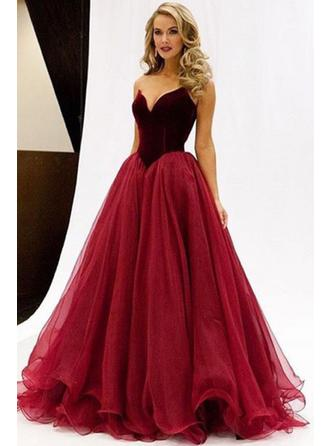 A-Line/Princess Sweetheart Floor-Length Tulle Prom Dress