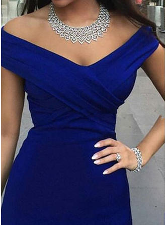 Trumpet/Mermaid Court Train Evening Dresses Off-the-Shoulder Satin Sleeveless