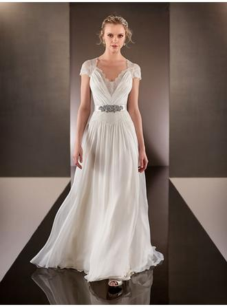 A-Line/Princess V-neck Sweep Train Wedding Dress With Beading (002144589)
