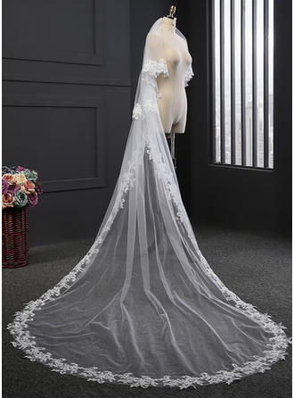 Two-tier Lace Applique Edge Cathedral Bridal Veils With Lace (006114032)