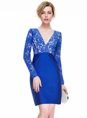 Sheath/Column V-neck Lace Jersey Cocktail Dresses