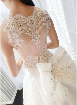 A-Line/Princess Scalloped-Edge Cathedral Train Wedding Dress With Lace Beading Appliques Lace Bow(s)