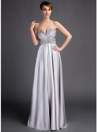 Empire Charmeuse Sleeveless Sweetheart Sweep Train Zipper Up Mother of the Bride Dresses