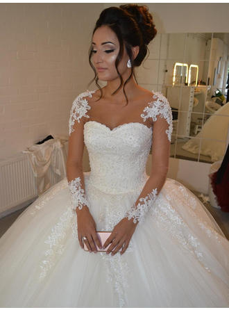 Appliques Long Sleeves Ball-Gown - Tulle Wedding Dresses