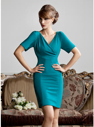 Sheath/Column Jersey Short Sleeves V-neck Short/Mini Zipper Up at Side Mother of the Bride Dresses