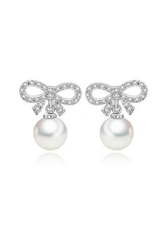 Beau Pearl/Zircon de/Platine plaqué Dames Boucles d'oreilles