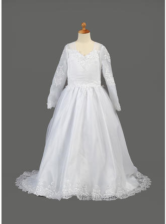Fashion Sweep Train A-Line/Princess Flower Girl Dresses V-neck Organza Long Sleeves (010005886)