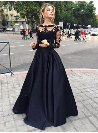 A-Line/Princess Scoop Neck Satin Long Sleeves Floor-Length Lace Evening Dresses