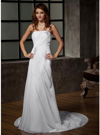 Elegant Court Train A-Line/Princess Wedding Dresses One Shoulder Chiffon Sleeveless