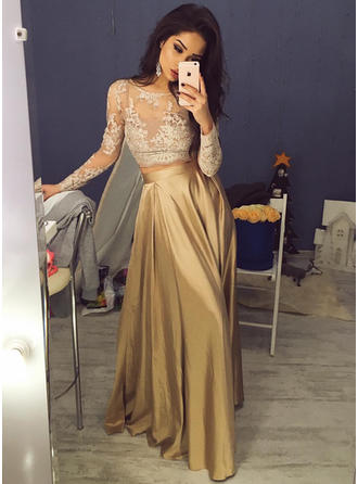 Fashion Scoop Neck Long Sleeves Prom Dresses Sweep Train Taffeta A-Line/Princess
