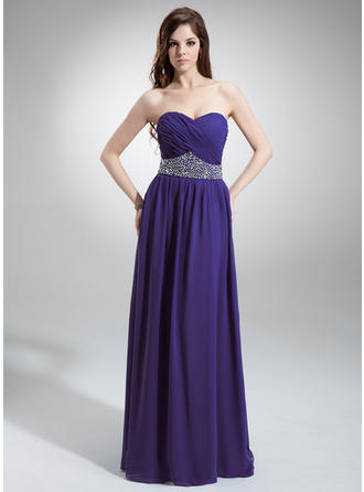 A-Line/Princess Sweetheart Floor-Length Evening Dress With Ruffle Beading Sequins
