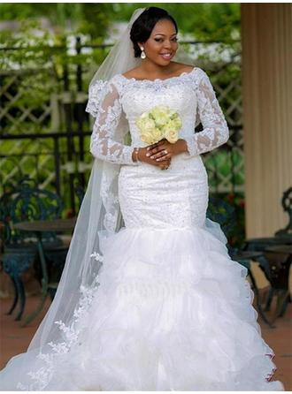 Long Sleeves Scoop Chapel Train Organza Wedding Dresses