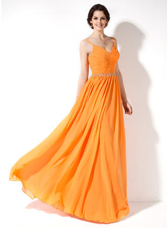 Chiffon Sleeveless A-Line/Princess Bridesmaid Dresses V-neck Ruffle Beading Floor-Length