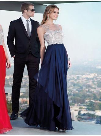 Empire Scoop Neck Floor-Length Evening Dresses With Beading