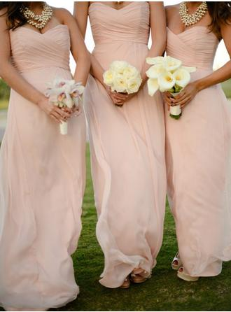 Chiffon Floor-Length Sweetheart A-Line/Princess Bridesmaid Dresses