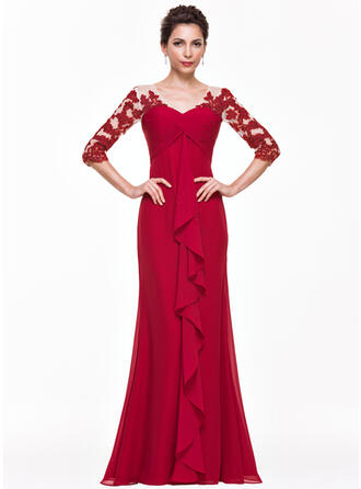 Empire V-neck Floor-Length Chiffon Evening Dress With Appliques Lace Cascading Ruffles