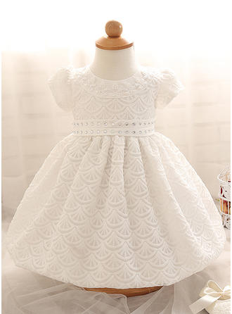 Satin Scoop Neck Beading Baby Girl's Christening Gowns With Short Sleeves