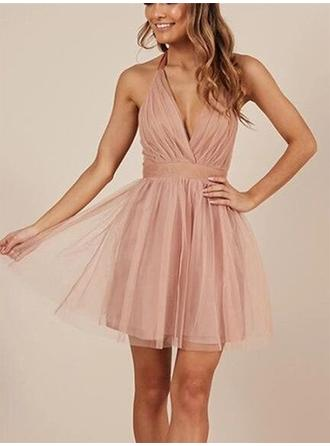 A-Line/Princess Tulle Cocktail Dresses Ruffle Bow(s) Halter Sleeveless Short/Mini