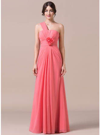Chiffon Sleeveless Trumpet/Mermaid Bridesmaid Dresses One-Shoulder Ruffle Flower(s) Floor-Length
