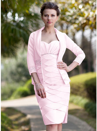 Schön Schatz Etui-Linie Satin Kleider für die Brautmutter