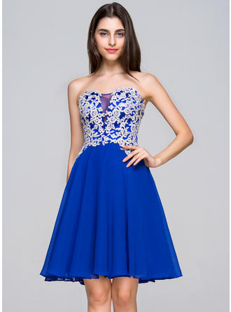 A-Line/Princess General Plus Chiffon Sweetheart Homecoming Dresses