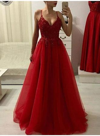 Modern Tulle Evening Dresses A-Line/Princess Floor-Length V-neck Sleeveless