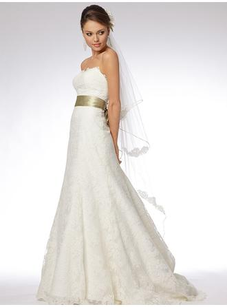 Empire Strapless Chapel Train Wedding Dresses With Lace Sash Bow(s)