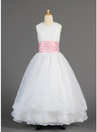 A-Line/Princess Scoop Neck Floor-length With Sash Organza/Charmeuse Flower Girl Dress