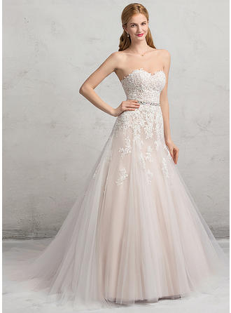 Tulle Lace Ball-Gown Flattering Beading Sequins Wedding Dresses