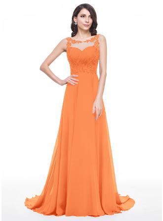 Chiffon Regular Straps Scoop Neck A-Line/Princess Prom Dresses