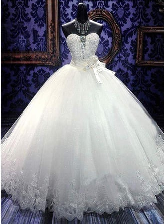 Sweetheart Floor-Length - Ball-Gown Tulle Wedding Dresses