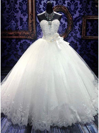 Sash Beading Flower(s) Bow(s) Ball-Gown With Simple Tulle Wedding Dresses