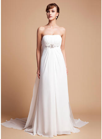 Empire Watteau Train Wedding Dress With Ruffle Beading