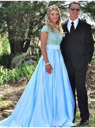 Satin Short Sleeves Ball-Gown Prom Dresses Scoop Neck Beading Sweep Train
