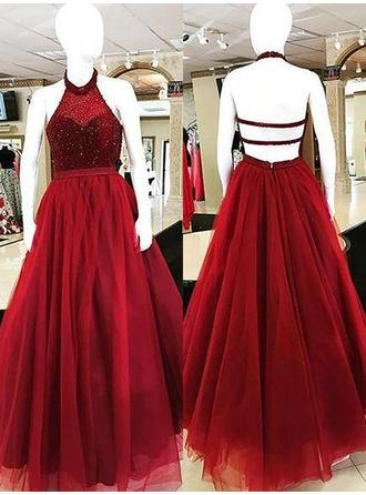 Tulle Sleeveless Ball-Gown Prom Dresses Halter Beading Floor-Length