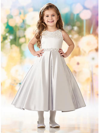 A-Line/Princess Scoop Neck Tea-length Satin/Lace Sleeveless Flower Girl Dresses (010216423)