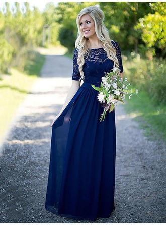 Chiffon 1/2 Sleeves A-Line/Princess Bridesmaid Dresses Scoop Neck Ruffle Floor-Length (007211571)