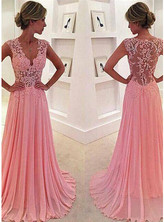 A-Line/Princess V-neck Sweep Train Chiffon Prom Dress With Lace (018145851)