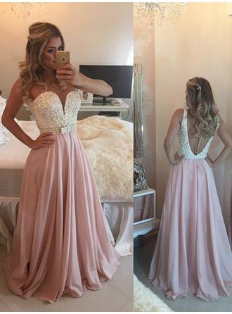 Chiffon Sleeveless A-Line/Princess Prom Dresses Sweetheart Beading Bow(s) Floor-Length