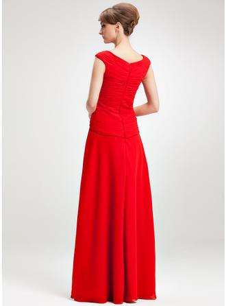 A-Linie/Princess-Linie V-Ausschnitt Chiffon Ärmellos Bodenlang Rüschen Kleider für die Brautmutter (008006264)