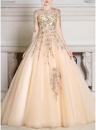 Ball-Gown Tulle Evening Dresses Beading Scoop Neck Long Sleeves Court Train