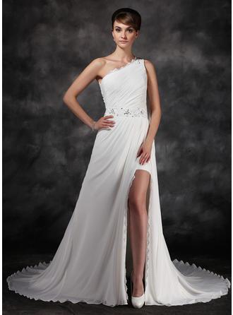 Forme Princesse Encolure asymétrique Traîne mi-longue Mousseline Robe de soirée avec Plissé Emperler Fendue devant