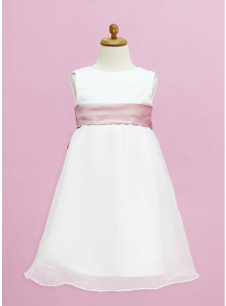 Empire Scoop Neck Floor-length With Sash Organza/Satin Flower Girl Dress