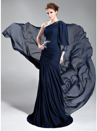A-Line/Princess One-Shoulder Court Train Evening Dresses With Ruffle Beading