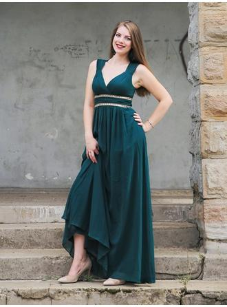 Flattering Chiffon Prom Dresses Empire Floor-Length V-neck Sleeveless
