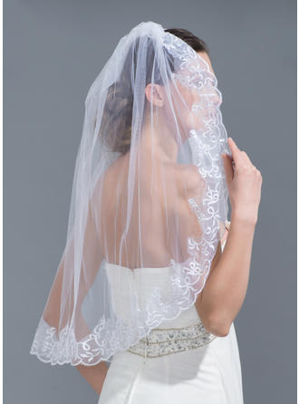 One-tier Lace Applique Edge Elbow Bridal Veils With Applique