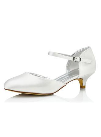 Vrouwen Satijn Low Heel Pumps Verfbare Schoenen (047090927)