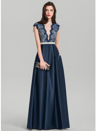 Satin Floor-Length Newest V-neck A-Line/Princess Prom Dresses