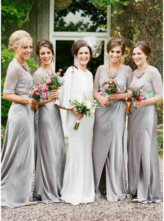 Jersey 1/2 Sleeves A-Line/Princess Bridesmaid Dresses Scoop Neck Lace Sweep Train