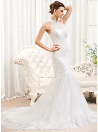Princess Court Train Trumpet/Mermaid Wedding Dresses Halter Tulle Lace Sleeveless